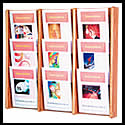 9 1/2w x 12h x 3/4d (18) Brochure/(9) Literature Rack: Acrylic Overlapping/Dividers/Wall