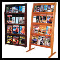 26 3/4w x 49h x 4 3/4d (24) Brochure/(12) Magazine Literature Display: 4 Shelves/Floor/Wall