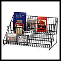 23 1/2w x 12 3/4h x14d: (3) Open Shelf Display Racks: Wire/Counter