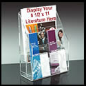 4 1/8w x 8 1/2h x 1 1/2d Literature Display Rack: 4 Pockets/Counter/Adjustable/Upscale