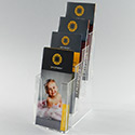 4 3/8w x 9 3/4h x 1 5/16d; 4 Pocket / 4 Tier Brochure Holder: Optional Business Card Pocket