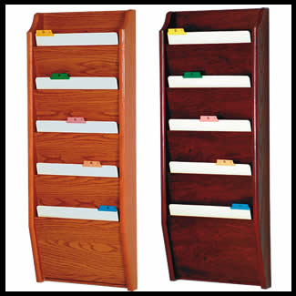 5 Pocket Wood Chart File Wall Rack Holds Up To 12 1 2 Wide