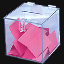 7 3/4w x 7 3/4h x 7 3/4d: Donation Box/Clear/Black/Counter/Hasp