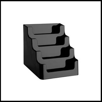 Multi tiered black business card holder 4 compartments for Business card holder multiple compartments