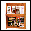 18w x 11 1/2h x 1 1/4d (8) Brochure/(4) Magazine Literature Book Rack: 2 Shelves/Floor/Wall