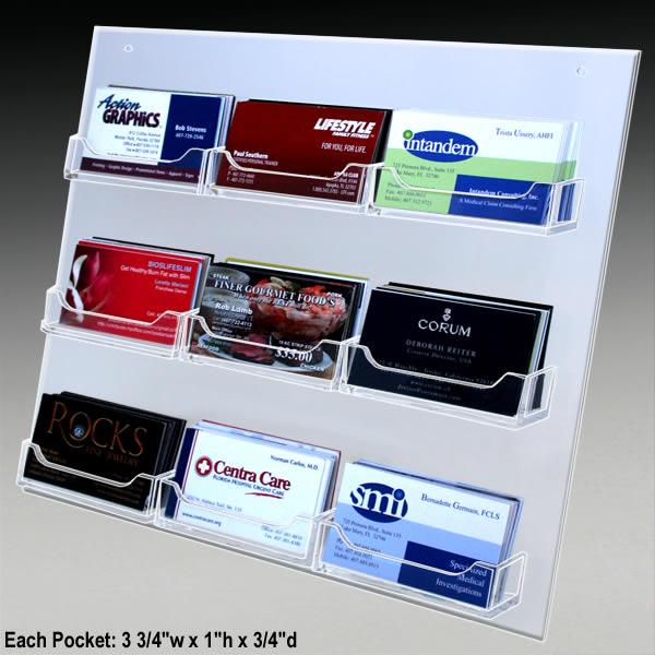 Acrylic 9 pocket business card wall mount 3 34w x 1h x 34d ea pocket 9 pocket wall business card holders colourmoves