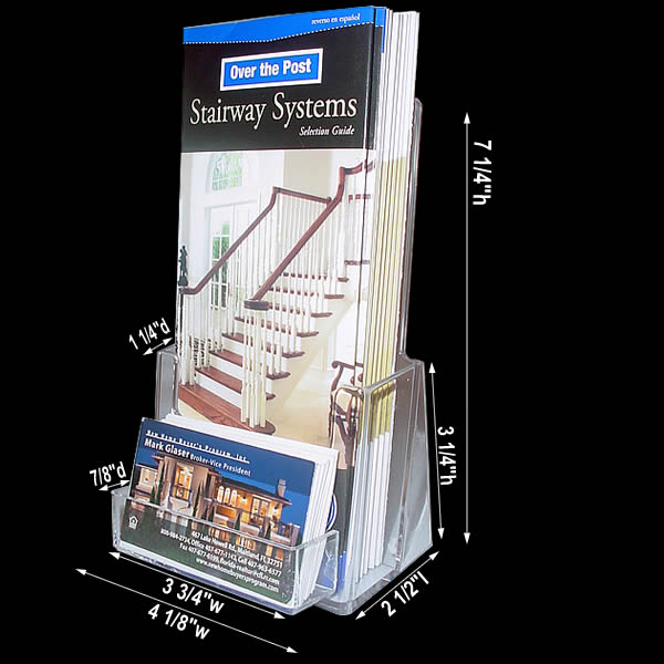 Cheap acrylic brochure holder with business card pocket for Flyer holder with business card