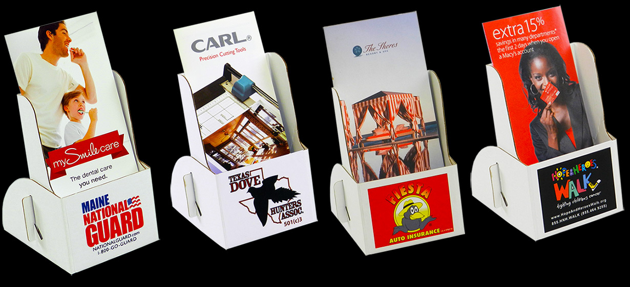 Cardboard Brochure Holder With Printed Label: Holds 4 x 9 Brochures