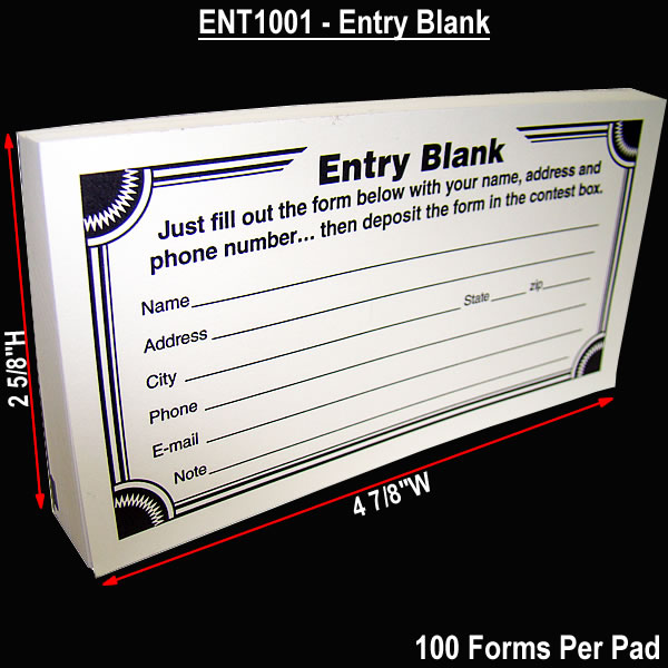 Cheap Contest Entry Form Pads 100 Forms Per Pad