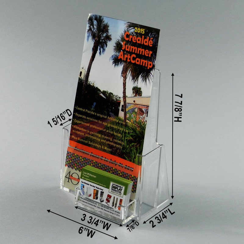 Pamphlet Display With Business Card Pocket: Holds 6\