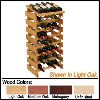 32 Bottle Wine Rack - Solid Oak Wood Wine Stand