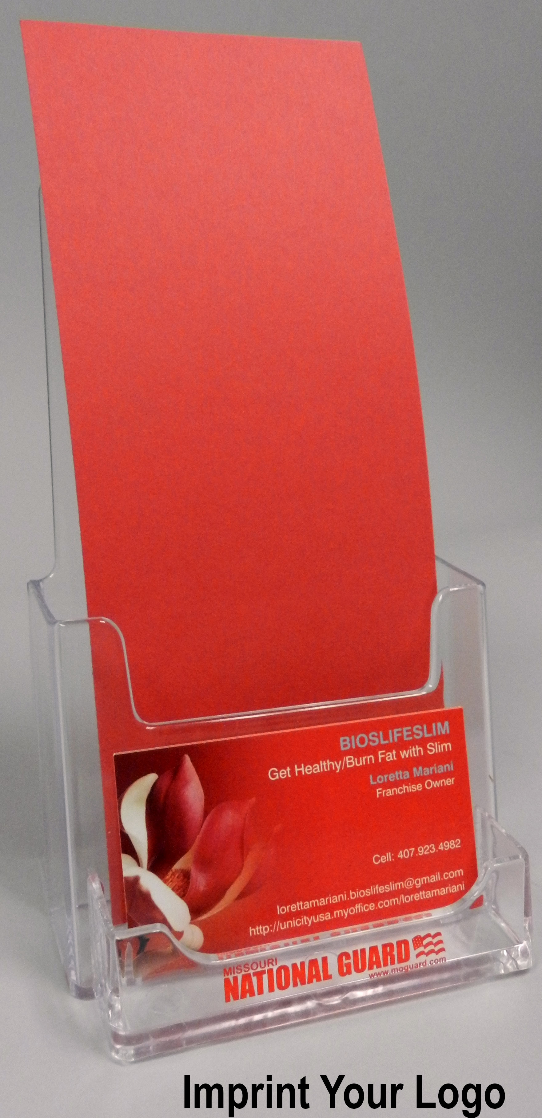 cheap acrylic brochure holder with business card pocket