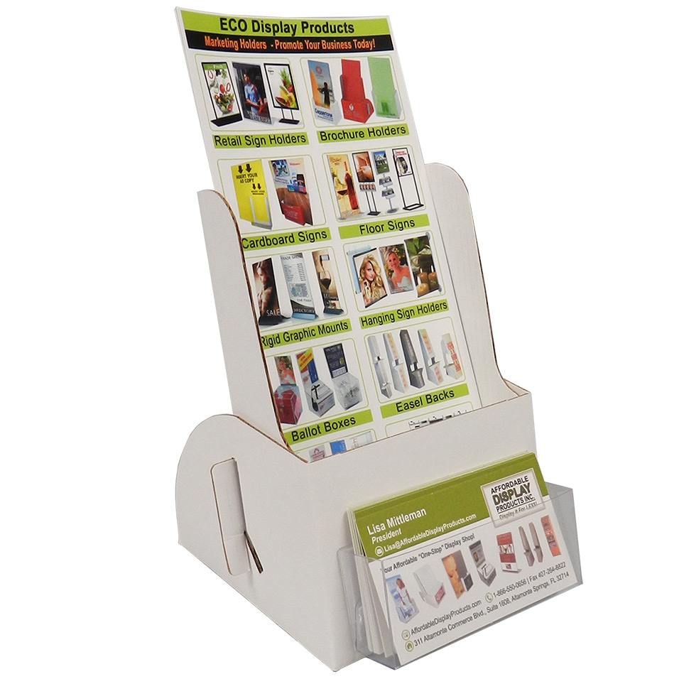 Cardboard Brochure Holder With Business Card Pocket