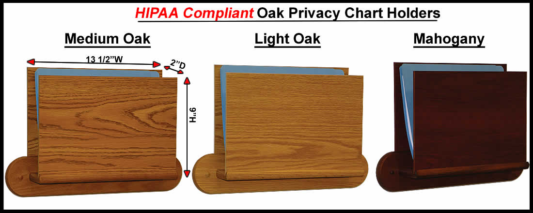 Hippa Compliant Medical Chart Holder With  Pocket  Solid Oak Wood