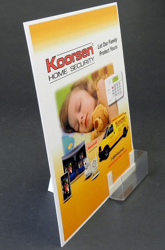 8 1/2 x 11 White Cardboard Easel Display: Label & Business Card Pocket