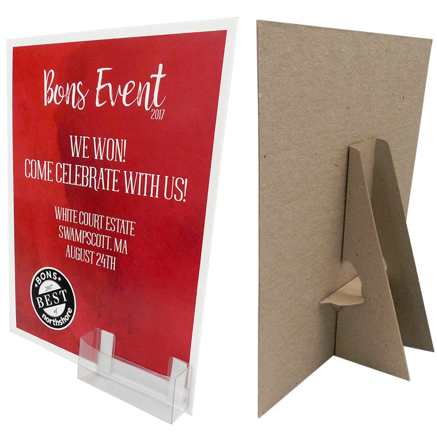 8 12 x 11 easel display with label business card pocket main1 8 12 x 11 display kraft wbusiness card pocket reheart Images