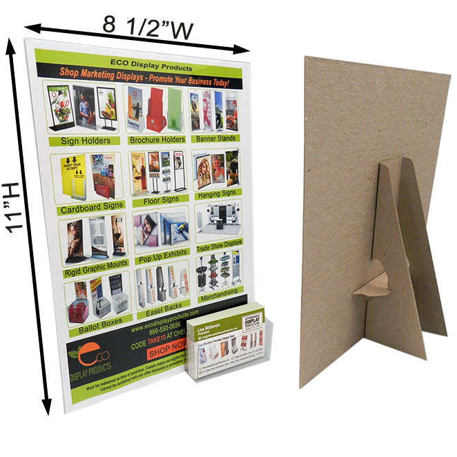 8 12 x 11 easel display with label business card pocket main 8 12 x 11 display kraft wbusiness card pocket colourmoves