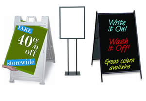 sidewalk signs and yard signs for outside
