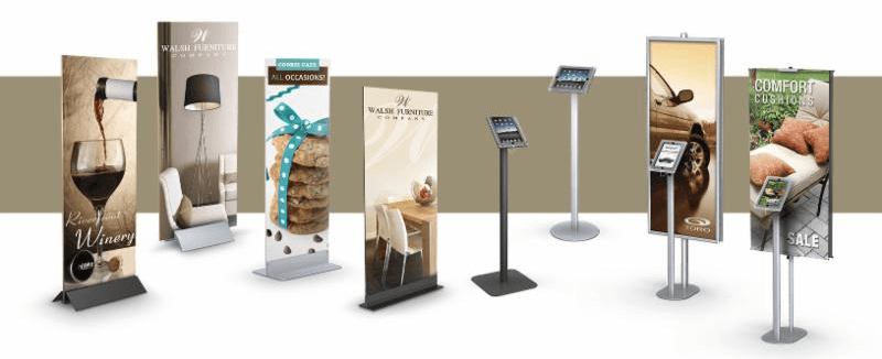 Variety Of Visual Merchandising Banner Stands, Retail Store Displays And Shopping Mall Signage